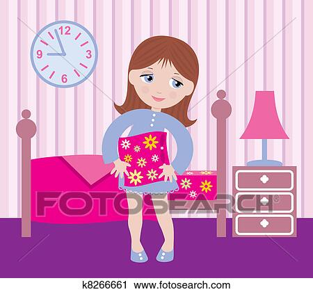 clipart of sleepy girl to go to bed k8266661 search clip art rh fotosearch com Pajama Clip Art Hair Brush Clip Art