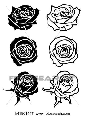 Clip Art - Close up rose vector tattoo, logos, floral silhouettes. Fotosearch -