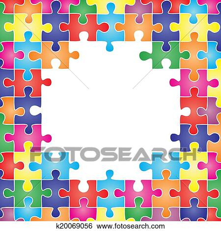 Clip Art of Colored frame made up of pieces puzzle. Vector k20069056 ...