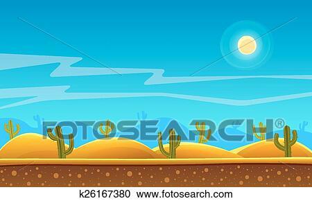 Clipart Of Desert Cartoon Background K26167380 Search Clip Art