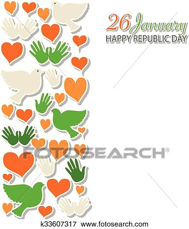Clip Art Of Happy Republic Day India Templates For Postcard