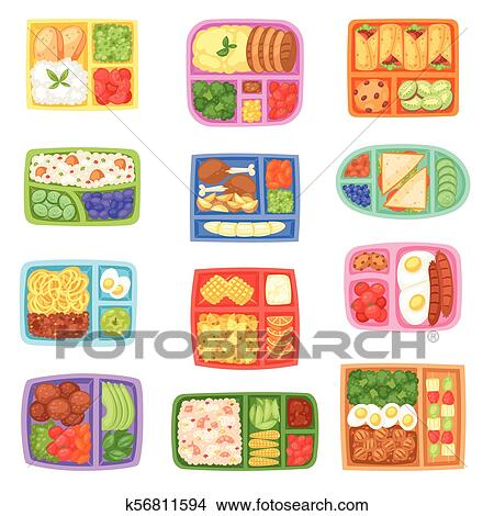 Clipart Of Lunch Box Vector School Lunchbox With Healthy Food