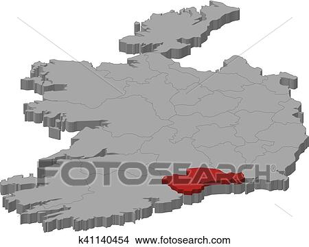 Map Of Ireland 3d.Clipart Of Map Ireland Waterford 3d Illustration K41140454