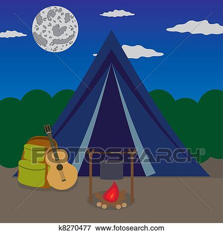 Clip Art Of Night Camping K8270477
