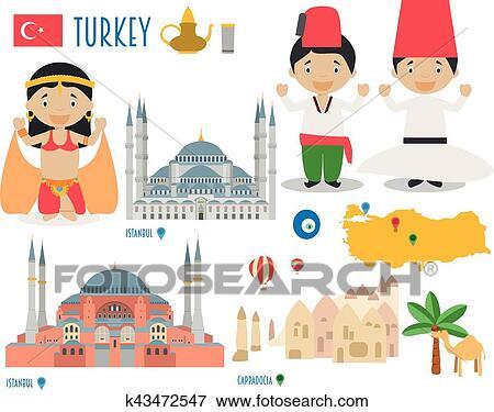 Clip Art of Turkey Flat Icon Set Travel and tourism ...