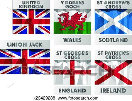 Clip Art - unión jack, gales, escocia, inglaterra, irlanda del norte ...