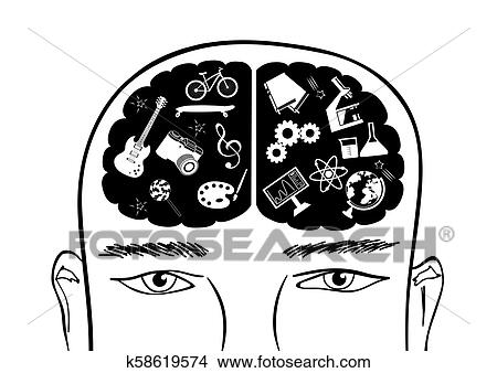 vector head with brain clipart k58619574 fotosearch https www fotosearch com csp827 k58619574