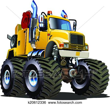 clip art of cartoon monster tow truck k20612336 search clipart rh fotosearch com tow truck clipart images rollback tow truck clipart