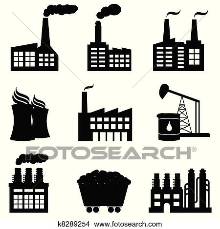 clipart of factory nuclear power plant and energy icons k8289254 rh fotosearch com factory clipart black and white factory clipart blue
