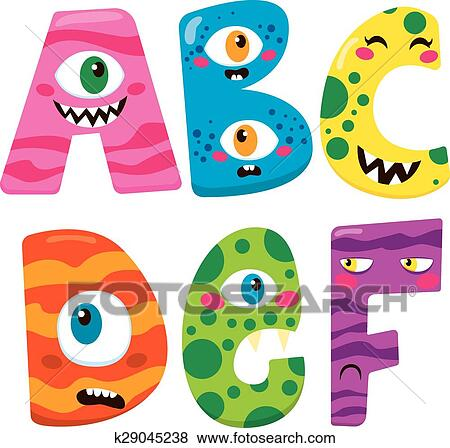 clip art of halloween monster alphabet k29045238 search clipart