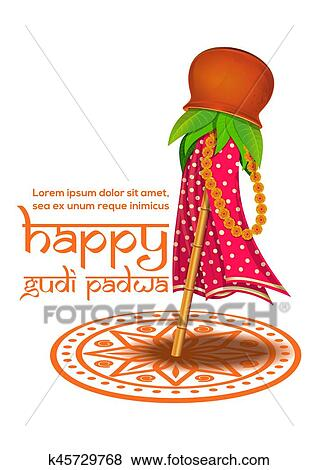 hindu new year celebrated on the first day of the chaitra month vector illustration for gudi padwa and ugadi