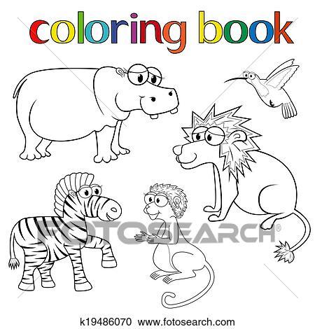 Clipart - kit, de, animales, para, libro colorear k19486070 - Buscar ...