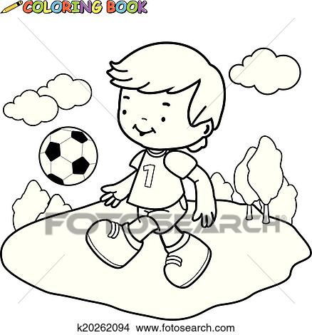 Clipart - libro colorear, futbol, niño k20262094 - Buscar Clip Art ...