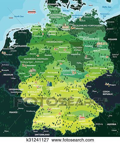 Dortmund Germania Cartina.Mappa Germania Clip Art K31241127 Fotosearch