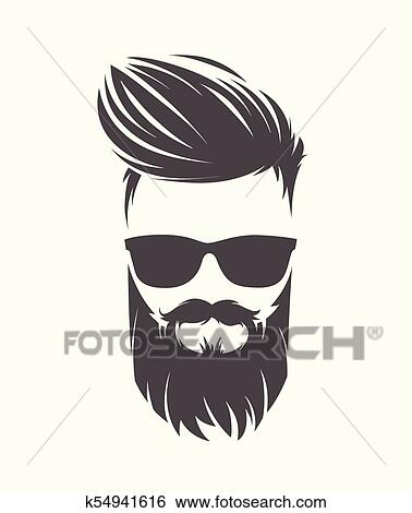 Clip Art Of Mens Hairstyle With Beard Mustache K54941616 Search