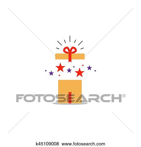 Surprising Gift Opened Present Box Unusual Experience Special Celebration Birthday Party Vector Flat Illustration