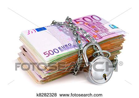 Pile Of Euro Bank Notes Chained Up With Padlock Isolated On White