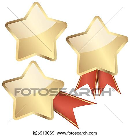 Clip Art Template Golden Star With Ribbons Fotosearch Search Clipart Ilration Posters