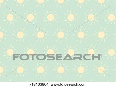 Soft Yellow Sun On Green Color In Pastel Style