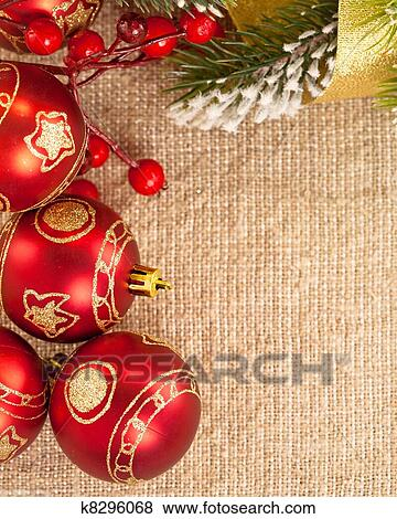 Christmas Card Background.Christmas Card Border From Decoration On Burlap Background Stock Photo