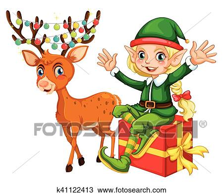 clipart of christmas theme with elf and reindeer k41122413