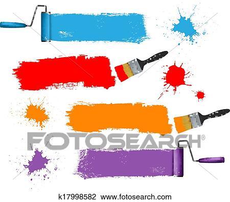 Clipart Farbpinsel Und Farbrolle Und Farbe Banners Vektor