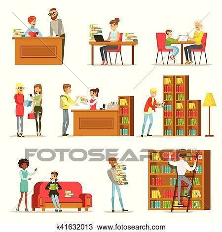 Gens Parler Et Lecture Livres Dans Bibliotheque Ensemble De Illustrations Clipart