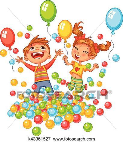Clipart heureux gar on fille jouer color balles - Clipart piscine ...