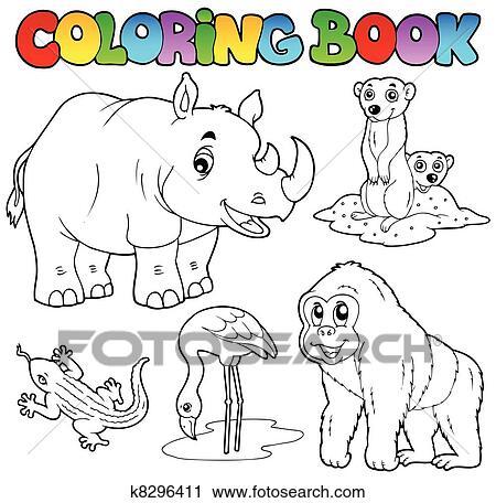 Clipart - libro colorear, zoo, animales, conjunto, 1 k8296411 ...