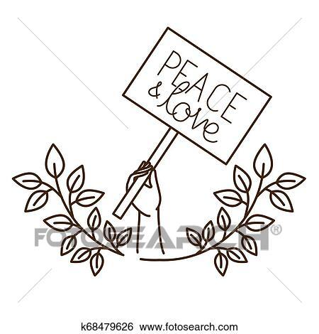 Maos Com Sinal Protesto E Paz E Amor Isolado Icone Clipart