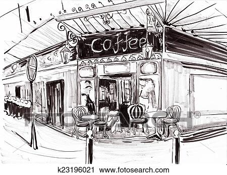 Dessin Restaurant clipart - main, dessiner, paris, café-restaurant k23196021