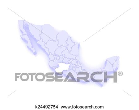 Map of Michoacan. Mexico Stock Illustration