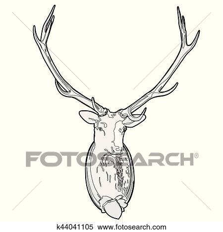 Mounted Deer Head Stuffed Stag Monumental Antlers Outlined Hunting Trophy Clipart K44041105 Fotosearch
