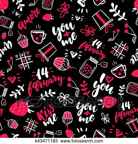 Clipart Of Valentine S Day Vector Seamless Pattern Isolated
