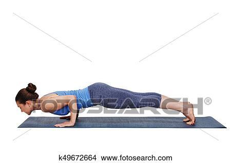 woman doing ashtanga vinyasa yoga surya namaskar sun