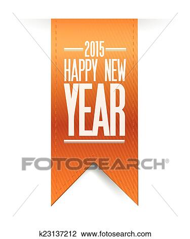 2015 happy new year hanging banner illustration design over a white background