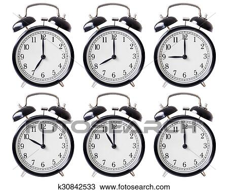 Stock Photo Of Alarm Clock Set With Hands From 7 To 12 Oclock
