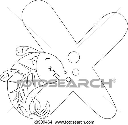 Clipart Of Coloring Page X Ray Fish K8309464 Search Clip Art