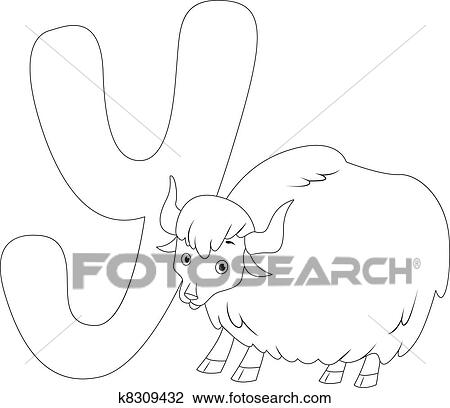 Clipart Of Coloring Page Yak K8309432