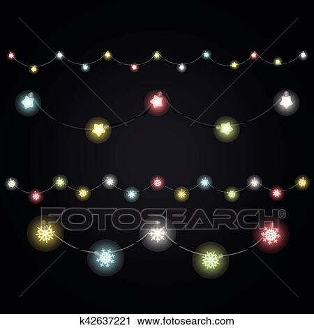 different color lighting garland vector set on dark background christmas lights clipart k42637221 fotosearch fotosearch