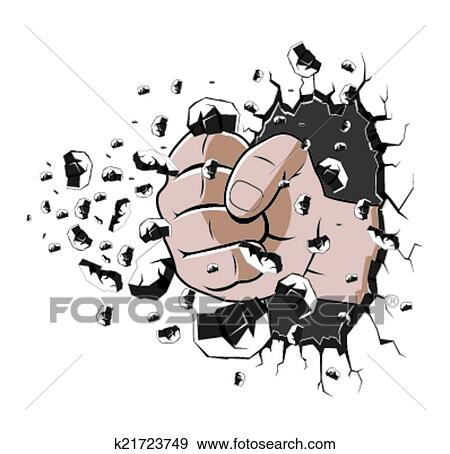 Hand punch the wall Clip Art