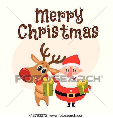 Weihnachtsgeschenke Clipart.Lustig Weihnachtsmann Und Rentier Halten Weihnachtsgeschenke Geschenke Clipart