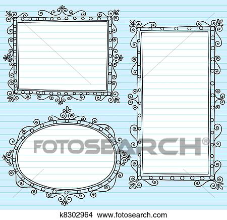 Clipart Of Picture Frame Borders Vecto Doodles K8302964 Search