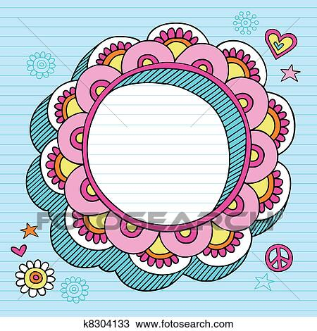 Clipart Of Psychedelic Doodle Picture Frame K8304133 Search Clip
