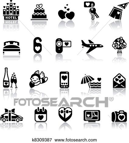 Clip Art Of Set Valentine S Day Icons K8309387 Search Clipart
