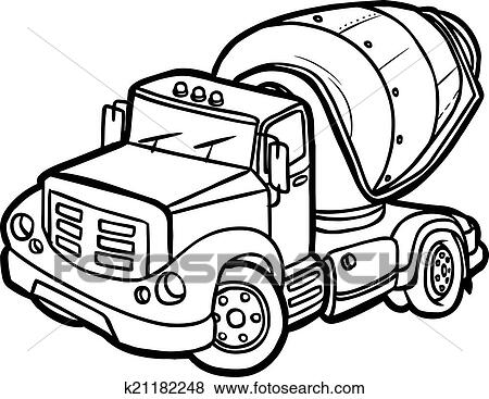 clip art of cartoon concrete mixer isolated k21182248 search rh fotosearch com clipart concrete truck concrete clip art work