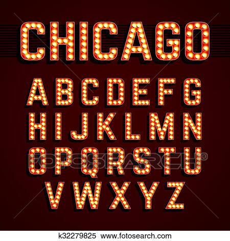 Chicago Broadway Lights Font Clipart K32279825 Fotosearch