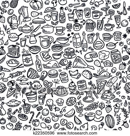 Clip Art of doodle food icons seamless background