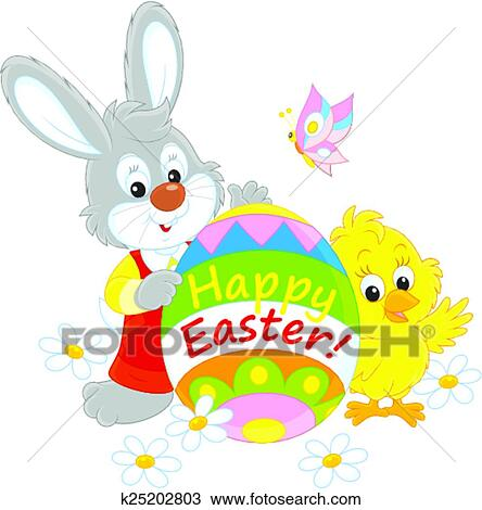 Easter Bunny and Chick Clip Art