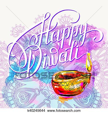 Clipart of happy diwali watercolor greeting card to indian fire clipart happy diwali watercolor greeting card to indian fire festival fotosearch search clip m4hsunfo